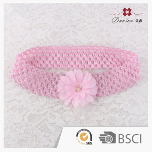 Elastic mesh crochet headband with silk flower for babies little girl toddlers hair jewelry