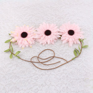 Fashion girl mobilizable big pink sunflower headband