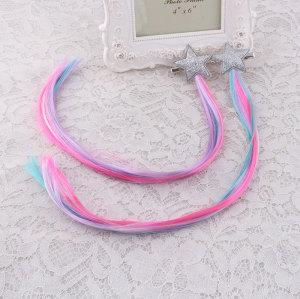 Eco-friend faux hair glitter star wig hair clip for child