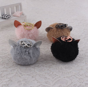 High quality colors soft ear rabbit fur ball keychain wholesale