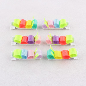 Lovely caterpillar hair clip child colorful ribbon animal hair clips