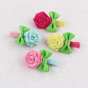 Original design colours ribbon rose flower hair clips lollipop rose hair clip for child