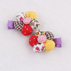 Baby full cotton flower hair clip printed fabric flower hair clip