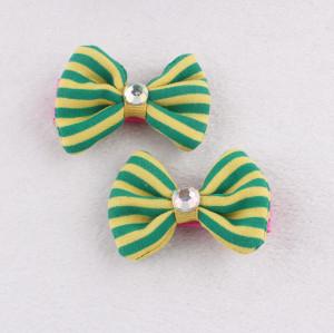 Pretty little pin-striped hair bow with rhinestone button green hair clips