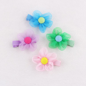 Handicraft organza mini button flower hair clip set for kids ornaments
