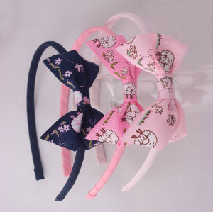 Lovely girl pink printed ribbon bow hair band