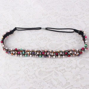 Multicolour bead elastic headband for women