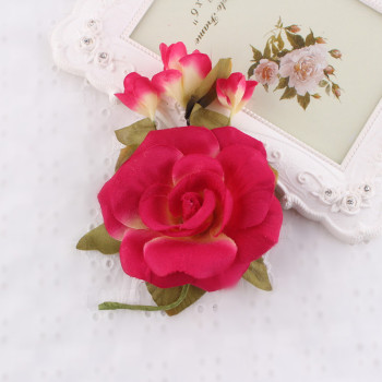 Fashion red rose silk flower brooch for party