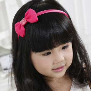 Affordable colors girl ribbon bow hair band with rhinestone