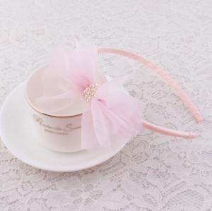 Pretty pink girl veil bow hair band supplier