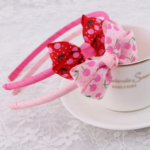 Latest grosgrain fruit ribbon bow hair band for kids