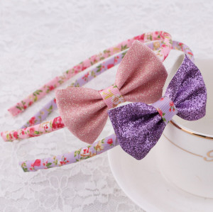 Shiny glitter ribbon bow hair band for litter girl