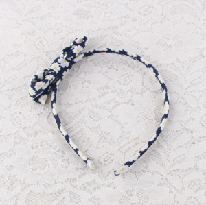 Printed mini floral cotton bow alice band for girl