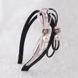 High quality girl leather knot bow hair band with pearl