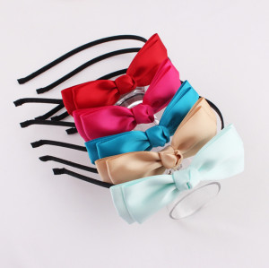 Plain colorful polyester ribbon bow alice band for girl