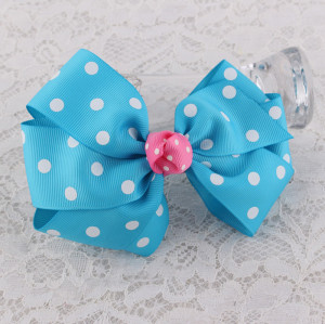 Handmade grosgrain blue dot ribbon bow hair clip for girl