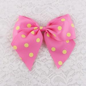 Handmade grosgrain pink dot ribbon bow hair clip for girl