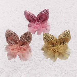 Colors glitter rabbit ear hair clip with tulle for kids