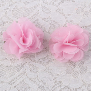 Pink bridal fabric hair flowers chiffon hairpin for child