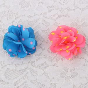 Fresh bridal headwear flower dot chiffon flower hair clips wholesale