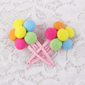 High quality colors felt flower snap clip for kids