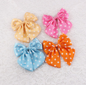 Fancy colors polyester ribbon dot ribbon bow hair clip for girl