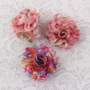 Colors fabric printed floral chiffon flower hair clips