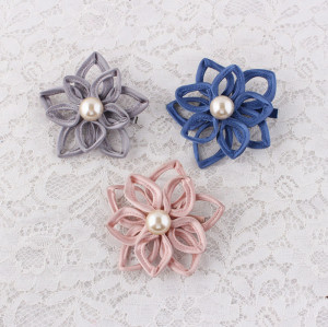 Large flower style satin floral hair clips with pearl