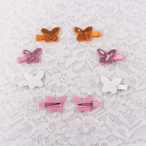 Lovely colors sequins felt butterfly hair clips wholesale