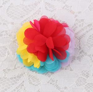 Rainbow color flower hair chiffon hair clips for girls