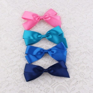 Beautiful plain color big ribbon bow hair clip for girl