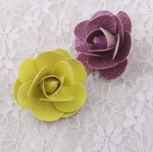Shinning glitter leather rose flower hair clips wholesale