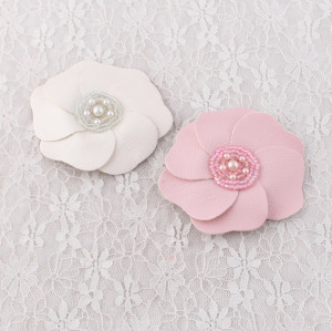 Soft big leather flower hair clip with pearl for party