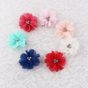 Mini rhinestone chiffon flower hair clip supplier