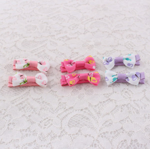 Printable butterfly small ribbon bow hair clips for kids