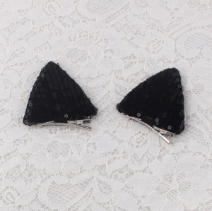 Babies girl lovely glitter sequins black cat ear hair clip set