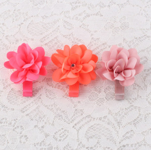 Mini coral elastane toddler flower hair clip supplier
