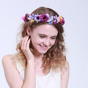 Fancy purple flower crown headband with butterfly for kids