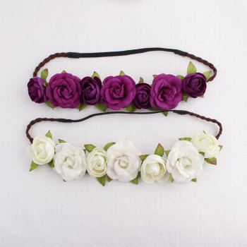 Purple rose flower headband