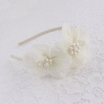 White chiffon flower hair band with flower bead