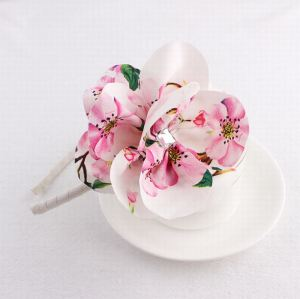 Pink peach blossom floral alice band