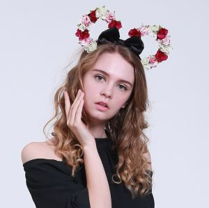 Disney flower Mickey Minnie ears headband with bow