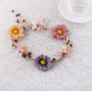 Knotted daisy flower silk flower heads for headbands