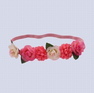 Handmade pink rose flower elastic headband