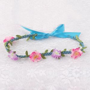 Handmade knotted rose flower braided headband