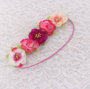 Pink peach flower elastic headband