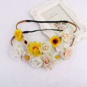 Bohemian artificial yellow rose flower head crown