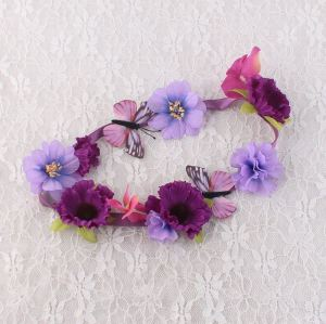 Fresh purple daisy flower crown with butterfly for child