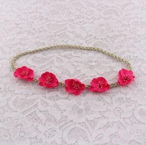 Kid's red flower braided elastic headbands