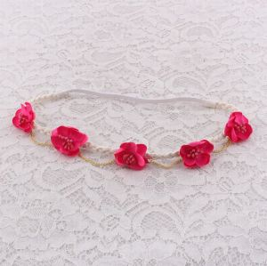 Peach flower braided elastic band with gold chain